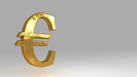 Euro golden sign. Realistic 3d rendering