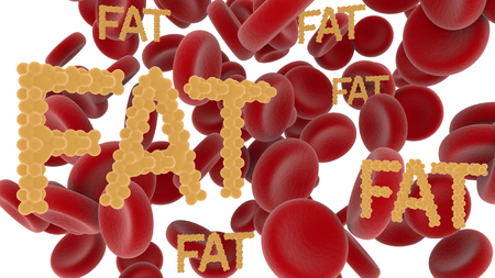 Red blood cells and the words fat from fat cells on white background. Zdjęcie Seryjne