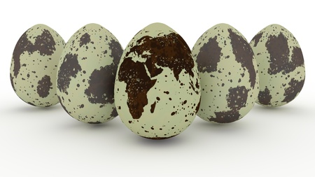 Quail eggs and image of earth map on white background. 3d rendering. Imagens