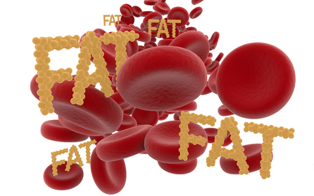 Red blood cells and the words fat from fat cells isolated on white background.