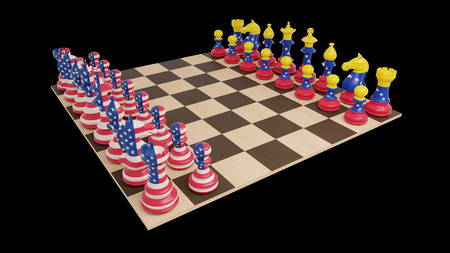 USA and Venezuela conflict. Chess concept on black background. Isolated 3d illustration