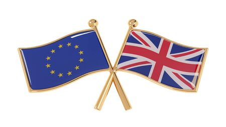 Badge partnership of the EU and the UK. 3D illustration of isolated national flags on white background