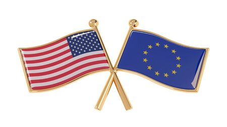 Badge partnership of the USA and the EU. 3D illustration of isolated national flags on white background