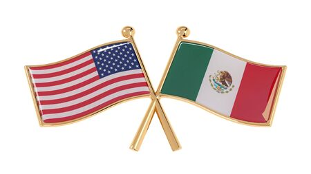 USA and Mexico partnership badge. Isolated 3D illustration national flags on white background Stok Fotoğraf