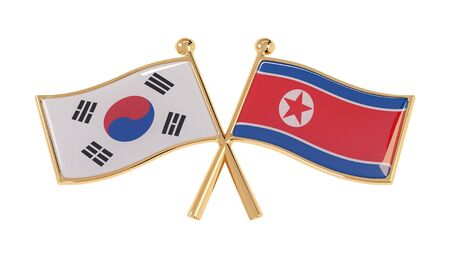 Badge friendship of South Korea and North Korea. 3D illustration of isolated national flags on white background