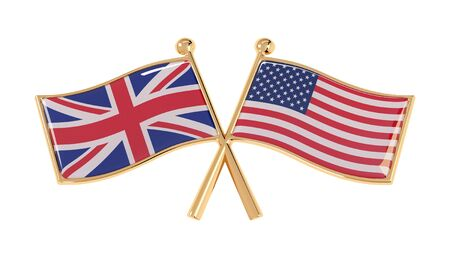 Badge partnership of the UK and the USA. 3D illustration of isolated national flags on white background