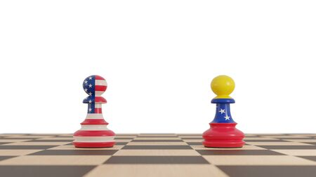 USA and Venezuela conflict. Chess pawns concept on white background. 3d illustration