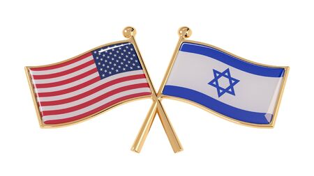 Badge partnership of the Israel and the USA. 3D illustration of isolated national flags on white background
