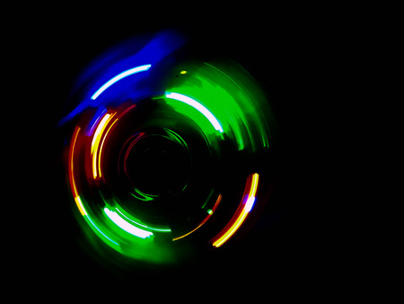dancing club: Colorful circle light wave  in dark background