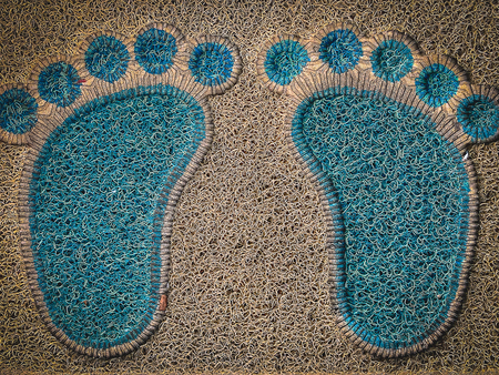 Blue and brown mat Wipe your feet