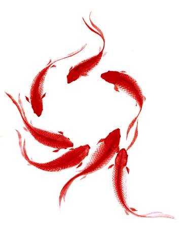 中国の伝統的な水彩手描きの鯉 - 幸運を代表して 写真素材