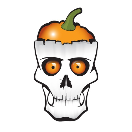 Halloween themed skull with pumpkin instead of brain Vector