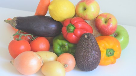 isolated fruits and vegetables Stock Photo