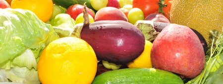 isolated vegetables and fruits Stock Photo
