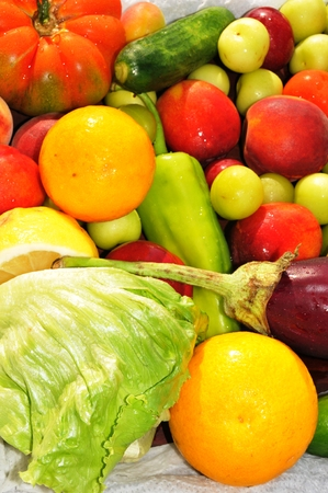 Background with vegetables and fruits