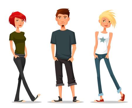 grappige cartoon illustratie van tieners