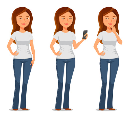 girl at phone: young woman in casual clothes Illustration