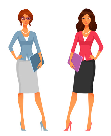 beautiful girl cartoon: cute office girls in smart casual fashion