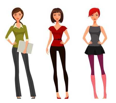 ropa casual: linda chica de dibujos animados con diferentes trajes y peinado