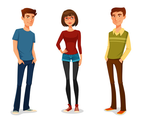 beautiful girl cartoon: group of young people in casual clothes