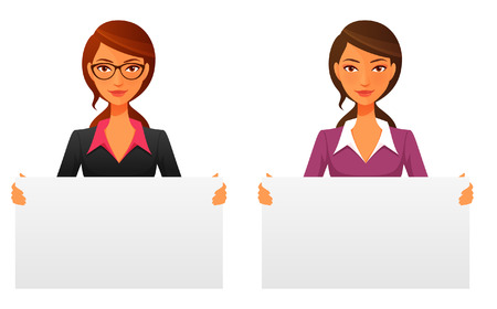 cute office girl or business woman holding blank sign