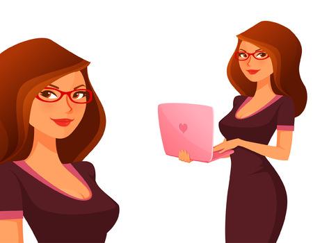 ピンクのラップトップでかわいい漫画の女の子
