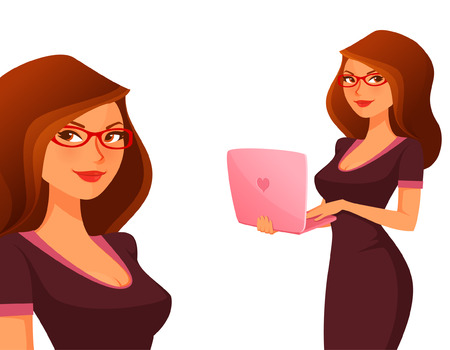 pretty dress: cute cartoon girl with pink laptop Illustration