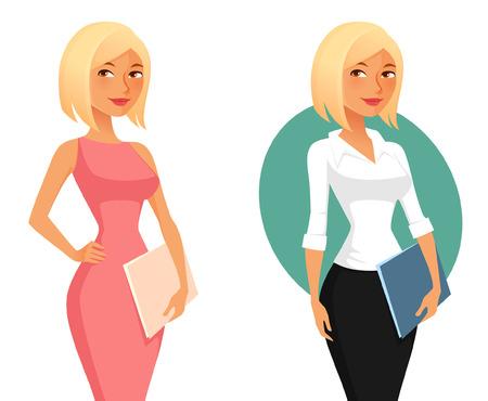 feminino: Menina de escritório bonito dos desenhos animados ou pastas secretária segurando