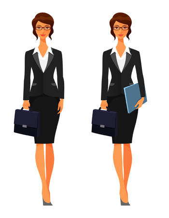 the secretary: elegant business woman with briefcase