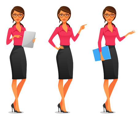 cartoon illustration of a beautiful young business woman in various poses Vettoriali
