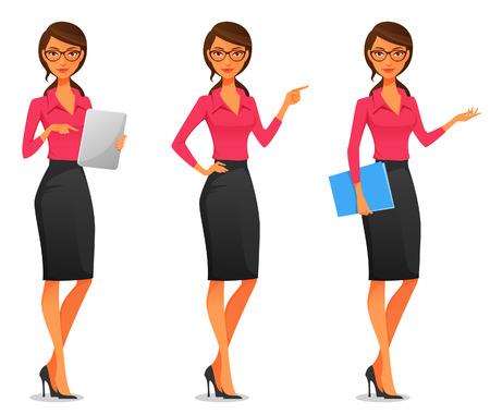 secretarias: ilustración de dibujos animados de una hermosa mujer de negocios de jóvenes en varias poses Vectores