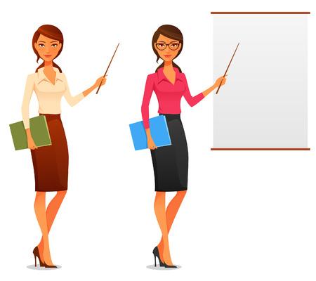 secretarias: ilustración de dibujos animados de una hermosa mujer de negocios joven que presenta con un puntero y cartón Vectores
