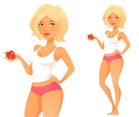 plus size girl: cute cartoon girl holding an apple