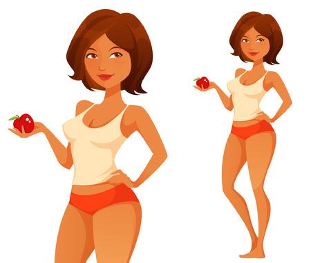 silhouette femme: femme mignonne tenant une pomme