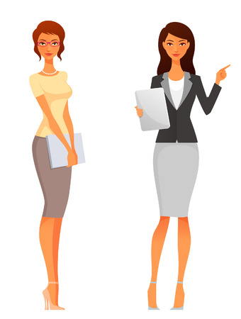 beautiful office or business women in smart casual clothes 向量圖像