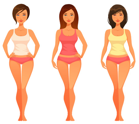 cartoon illustration of a young woman with healthy slim body 일러스트