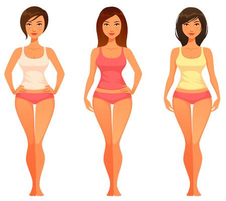 cuerpo femenino: ilustración de dibujos animados de una mujer joven con cuerpo delgado sano Vectores