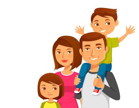 famille: famille heureuse de bande dessinée Illustration