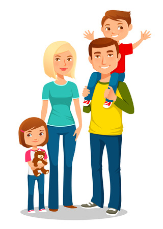 kid vector: joven familia feliz  Vectores