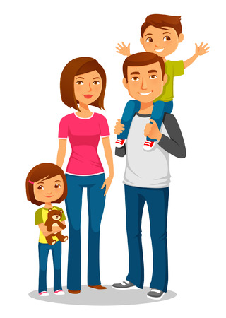 mom son: cartoon illustration of a young happy family