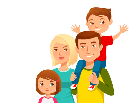 cute cartoon family  イラスト・ベクター素材