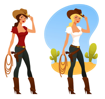 cowboy cartoon: two cute rodeo girls with lasso and cowboy hat