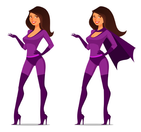 sexy cartoon girl in super hero costume with cape