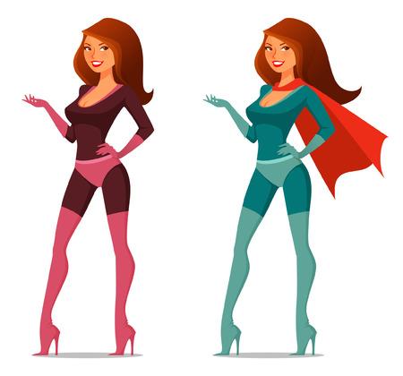 cartoon girl in super hero costume with cape