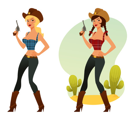 cowgirl and cowboy: beautiful cowgirl with a pistol