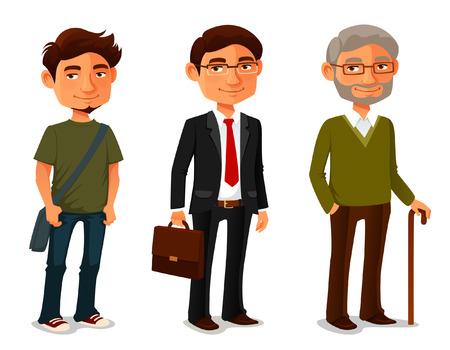 vejez feliz: Personajes de dibujos animados que muestran el progreso de edad Vectores