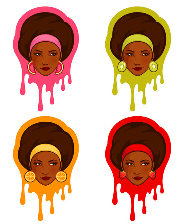 afro hairdo: Beautiful girl with fruity earrings on splatter background