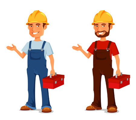 Smiling construction worker or handyman with toolbox