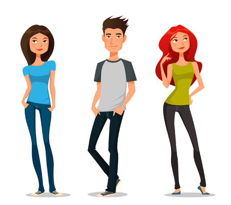 handsome man: Cute cartoon illustration of young people