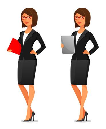 Young businesswoman in elegant suit Stock Illustratie
